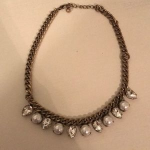 Pearl and rhinestone chain statement necklace